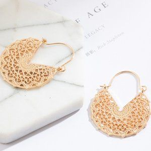 3/$20 New Gold Geometric Mandala Earrings